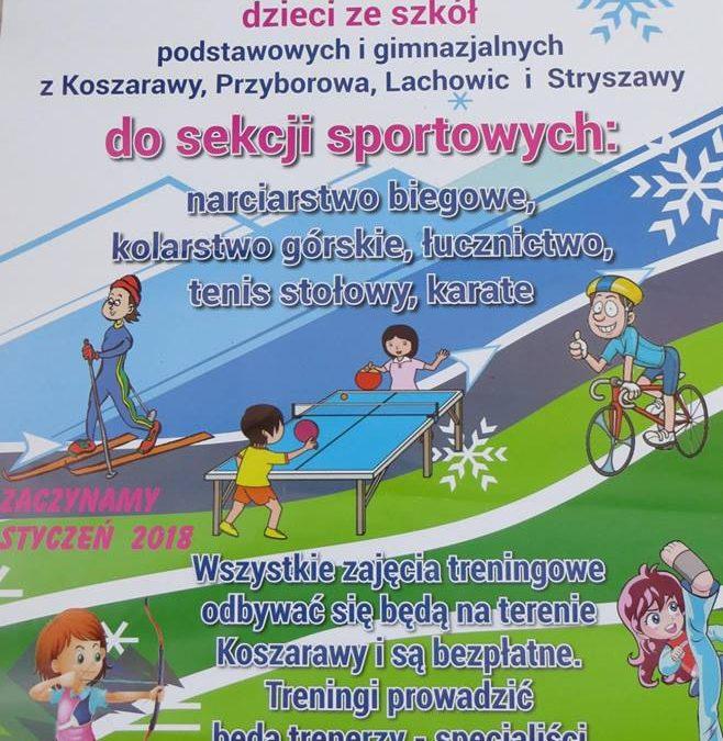 Trenuj z nami: biegi narciarskie, kolarstwo górskie, łucznictwo, tenis stołowy i karate w Koszarawie!